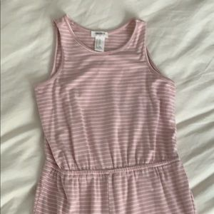 girls pink and white striped jumpsuit